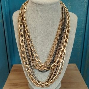 Layered multi chain necklace